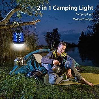 ROVLAK Lampe Anti Moustique Lampe de camping 2 en 1 Extérieur ipx6 étanche USB Charge Portable Avec Crochet Destructeur de Mouches Rechargeable Efficace Adapté Intérieur Balcon Jardin Randonnée