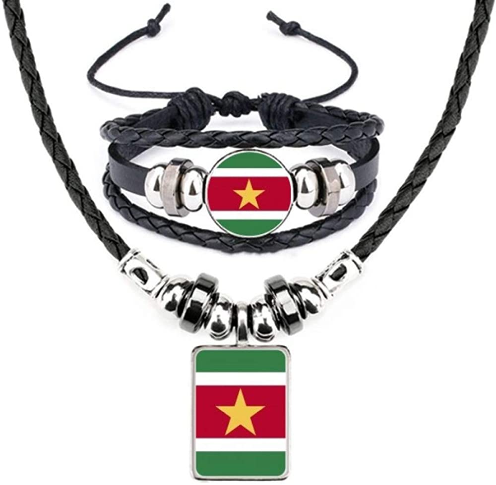 Suriname National Flag South America Country Leather Necklace Bracelet Jewelry Set