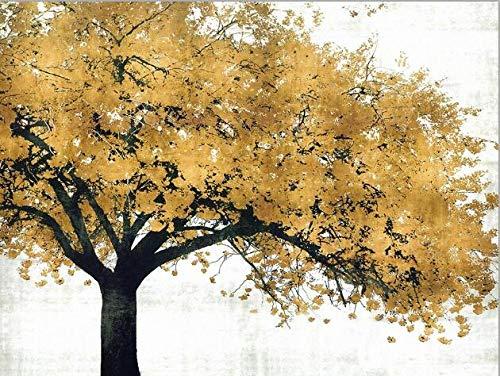 Moderne abstracte olieverf op doek kunst wanddecoratie poster en gedrukt gouden boom foto voor woonkamer woondecoratie-30x40cm