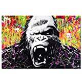 Unframed Animal Graffiti Gorilla Canvas Printed Painting Modern Funny Thinking Monkey Wall Art for Home Decor 28x44 inch(70x110cm)