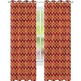 jinguizi Cortinas opacas con aislamiento térmico Chevron Vivid Expressionist Artwork W52 x L72 cortinas de ventana para dormitorio