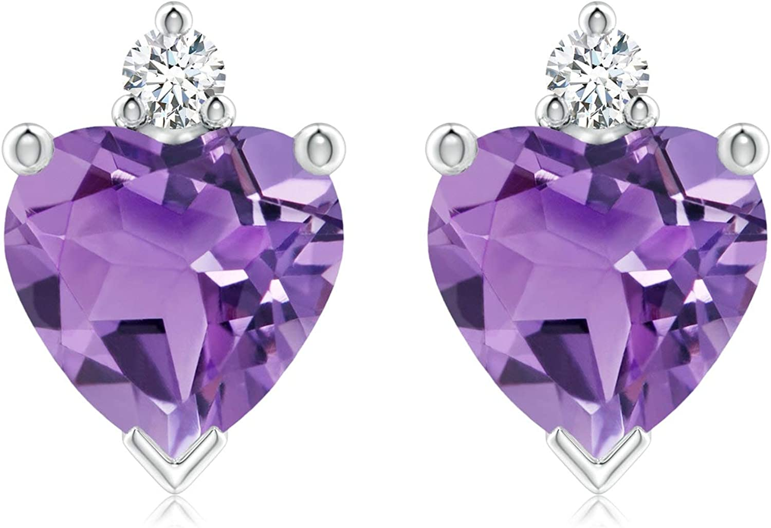 Special price for a limited time Heart Amethyst In stock Stud Earrings with Diamond in Silver Sterling