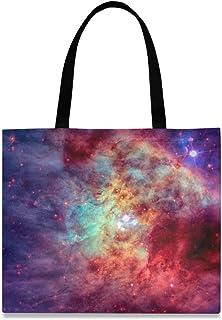 CaTaKu Nebula Canvas Tote Bag Casual Sac à bandoulière Nebula Épicerie Shopping Toile Sac Fourre-tout Grande Poignée Durab...