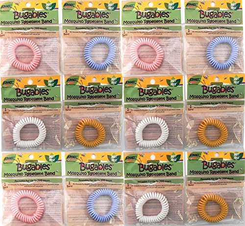12 Colorful BUGABLES Bug Insect Mosquito Repellent Repelling Spiral Bracelet Wristband Ankle Band. DEET FREE Non-Toxic. Citronella + Reusable For Up to 200 Hours.
