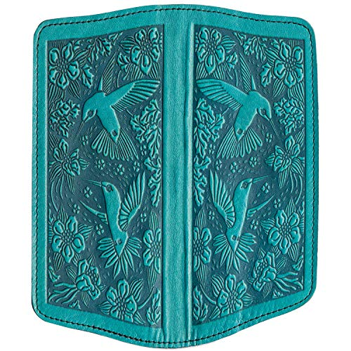 Oberon Design Hummingbirds Embossed Genuine Leather Checkbook Cover, 3.5x6.5 Inches, Teal