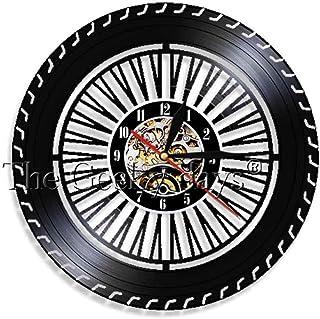 TIANZly Reloj de Pared Rueda de Rendimiento Reloj de Pared Reloj de Rueda de Coches Antiguos Servicio de Coche Ventas Reparación de Garaje Logotipo de Disco de Vinilo Reloj de Pared Decorativo