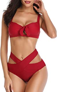 Soft Cloudy Women Two Piece Bandage Swimsuit High Waisted Tie Knot Cutout Bikini