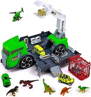 jerryvon Dinosaure Enfant Jouet Garçon 3 4 5 Ans - Dinosaures Camion Transporteur de Voitures avec Figurine Dinosaure Voit...