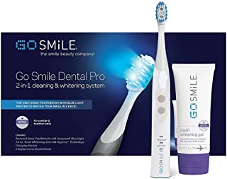 GO SMILE Dental Pro Teeth Whitening Kit (White), Sonic Blue Lightwave Technology, 2-in-1 Dentist Recommended Professional Whitening System, Sonic Smart Brush (1.3 lbs.), Hyperox Whitening Gel (3.4oz)
