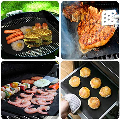 GQC BBQ Grill Mat, Non-Stick Grill Cooking Mat Teflon Reusable Barbecue Baking Mats, Heavy Duty,Easy to Clean - Works on Electric Grill Gas Charcoal BBQ (6X(33X40) cm)