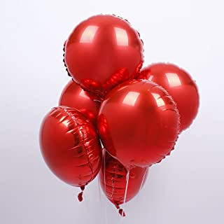 18 inch Red Round Shaped Foil Mylar Balloons Helium Balloon Birthday Party Supplies Wedding Decoration, 50pc