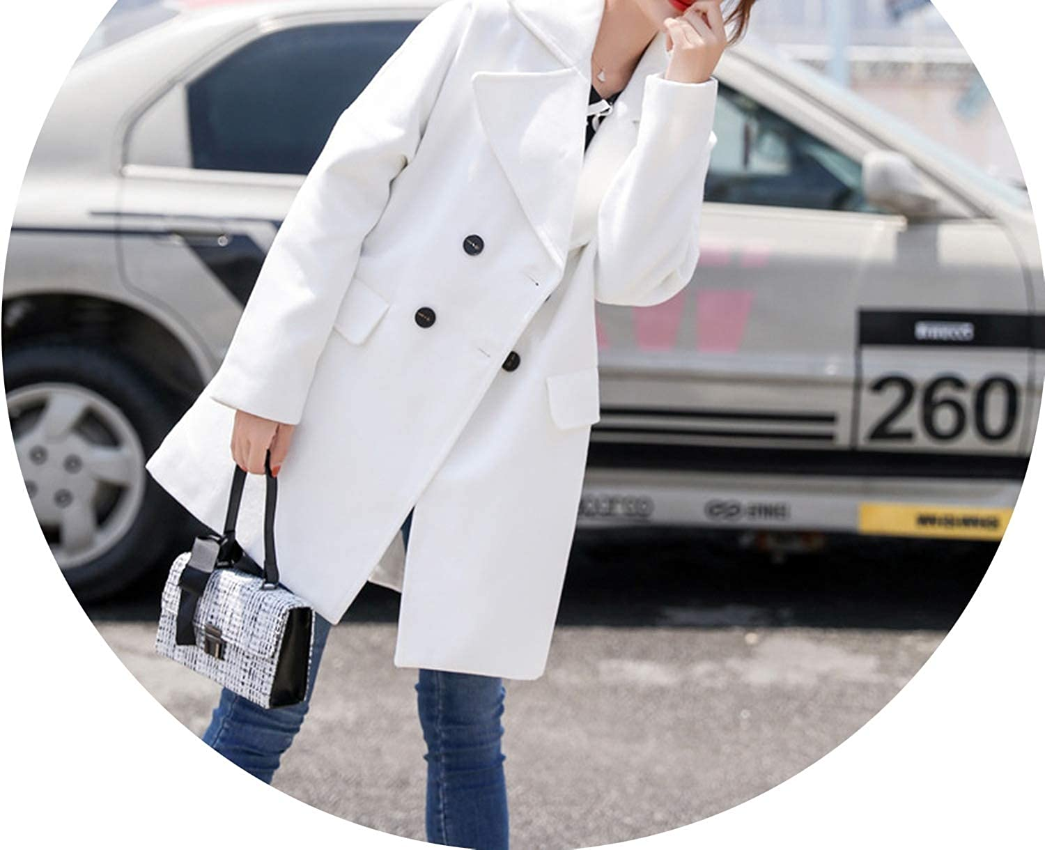 Fashion Solid Long Woolen Winter Coats Double Breasted WideWaisted Wool Coat and Jacket Pockets TurnDown Collar Ladies Coats,White,L