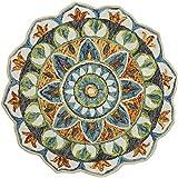 GEVES Mandala Round Rugs for Living Room Bedroom Teal Area Rug Floral Bathroom Rug Carpet Non-Slip Easy to Clean