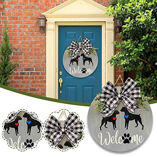 Qagazine Letrero de bienvenida para colgar en la pared de la puerta frontal, guirnaldas, porche, rústico, casa de granja, decoración vertical para la puerta al aire libre