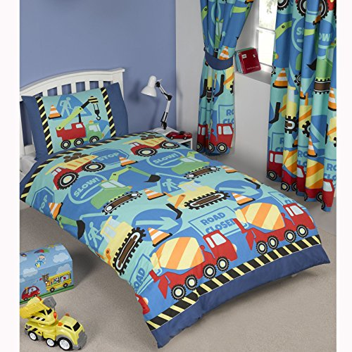 Construction Time Diggers & Trucks Single Duvet Cover and Pillowcase Set