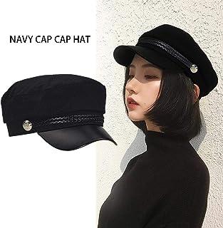 Lacyie Sombrero Militar para Mujer Gorra de Violinista Negra Marineros Estilo Pescador Mezcla de Lana Gorras de béisbol Sombrero de Pintores Vintage