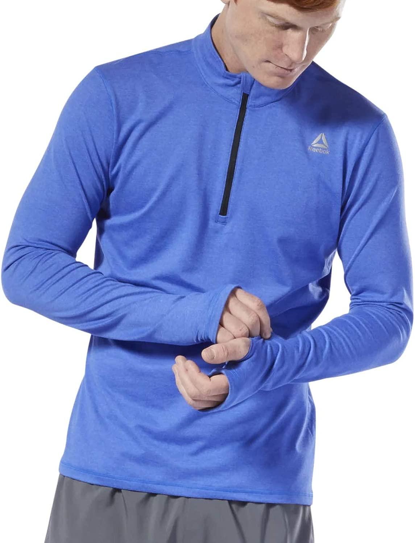 Reebok ランニングトップス ランニング用 ランニング用 ランニング用 ランニング用 ランニング用 ランニング用 ランニング 必需品 ハーフジップ 長袖 ブルー