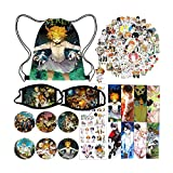 YZNIN The Promised Neverland Merch Set 1 The Promised Neverland Drawstring Bag 2 Anime Face Mask 50 Anime Stickers 8 Bookmark 6 Button Pin 2 Tattoo Stickers 1 Keychain, Colorful, Medium