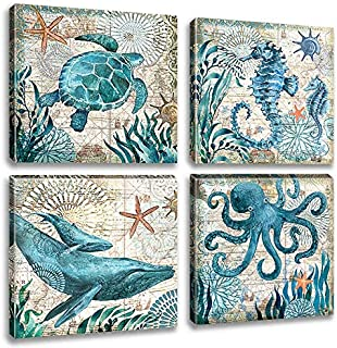 Marine Animals Canvas Wall Art Underwater World Pictures Turtle Seahorse Whale Octopus Prints Paintings Ancient Ocean Seascape Decor