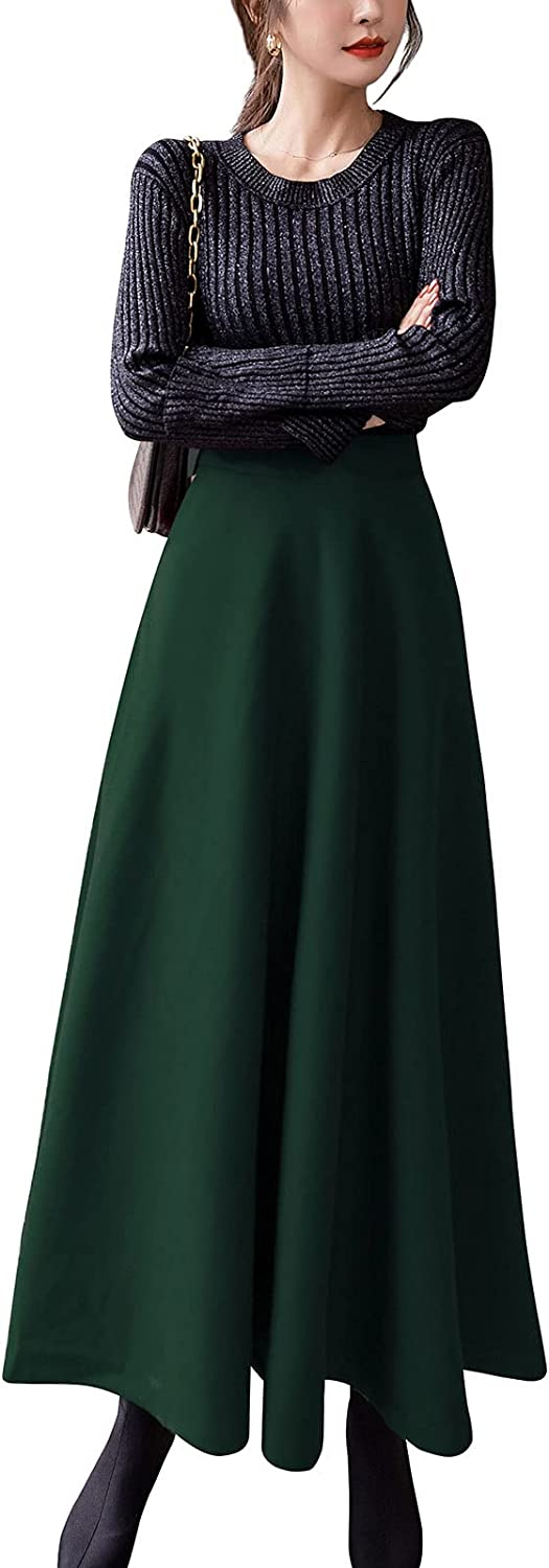 ebossy Women's Elastic High Waist Pleated A-line Flowy Swing Wool Blend Mid Long Skirt with Invisible Zipper