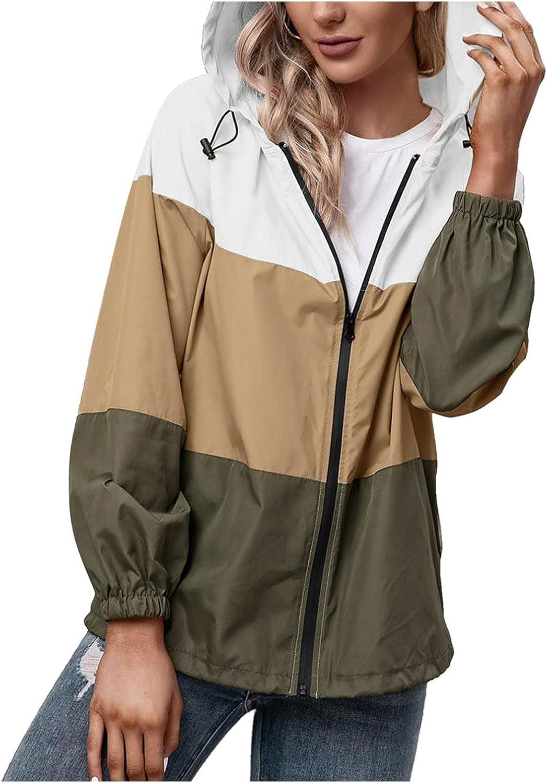 LOSTOX Women's Lightweight Hooded Zipper Stitching Color Waterproof coat Outdoor Mountaineering Suit Windproof Coat