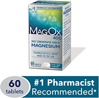 Mag-Ox 400 Magnesium Mineral Dietary Supplement Tablets, 483 mg Magnesium Oxide, 60Count, Pharmaceutical Grade