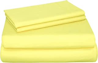 SUN WASHED Hotel Sheets 100% Cotton Soft & Smooth Percale Weave 4 Piece Cotton Sheet Set, Fade, Stain Resistant - Pale Banana, Queen