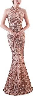 Women Elegant Halter Fishtail Slim Cocktail Party Evening Wedding Guest Dress Long Sequin Dresses