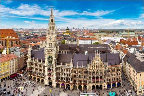 Posterlounge Leinwandbild 100 x 70 cm: Rathaus von München von Editors Choice - fertiges Wandbild, Bild auf Keilrahmen, Fertigbild auf echter Leinwand, Leinwanddruck
