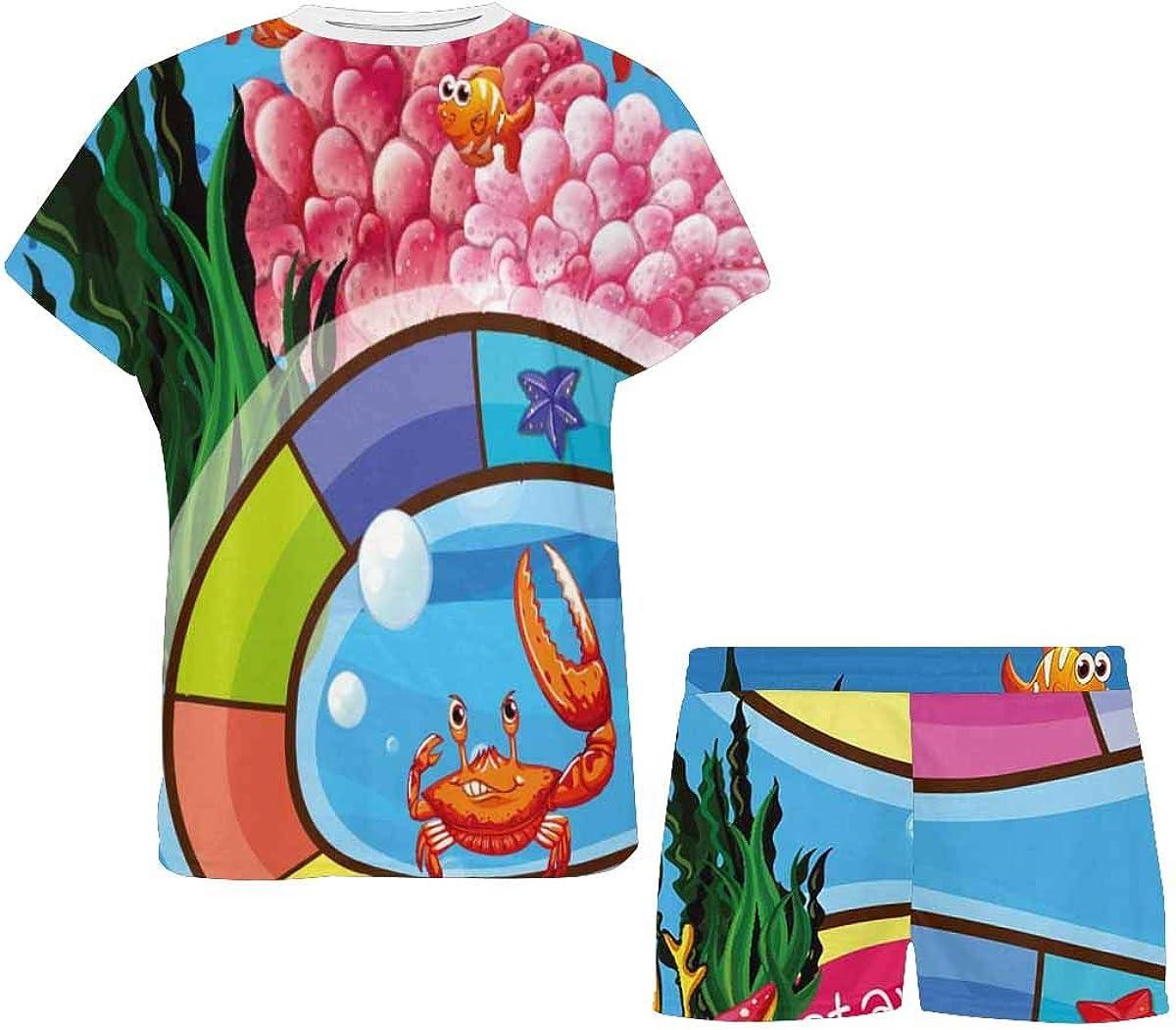 INTERESTPRINT Underwater Theme and Animals Women's Pajamas Short Sets Round Neck Short Sleeve Sleepwear
