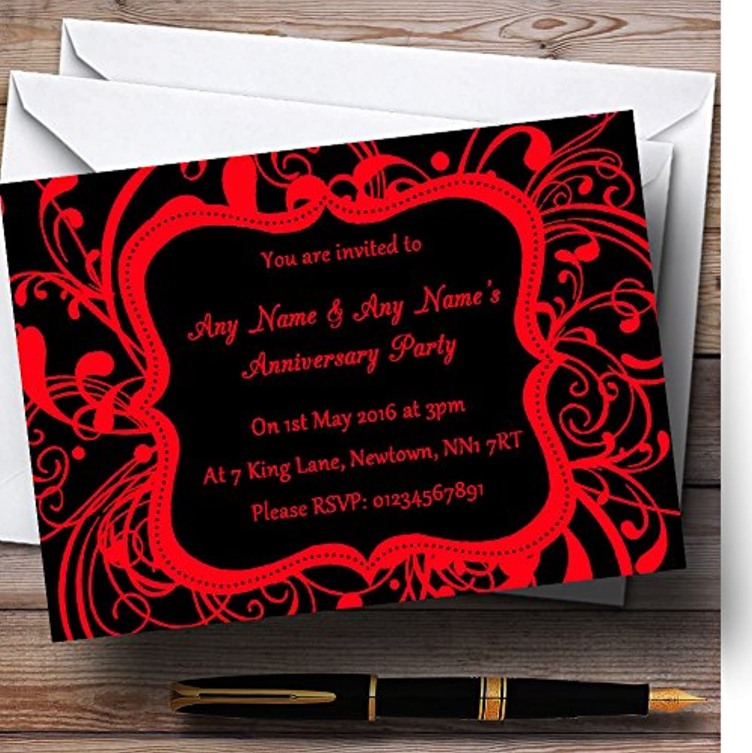Black & Red Swirl Deco Personalised Anniversary Party Invitations