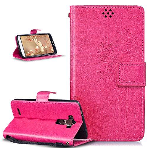 LG G3caso, LG G3Funda, ikasus), diseño de diente de león Love los amantes de los de piel sintética plegable tipo cartera para, funda de piel tipo cartera con función atril para tarjetas de crédito I