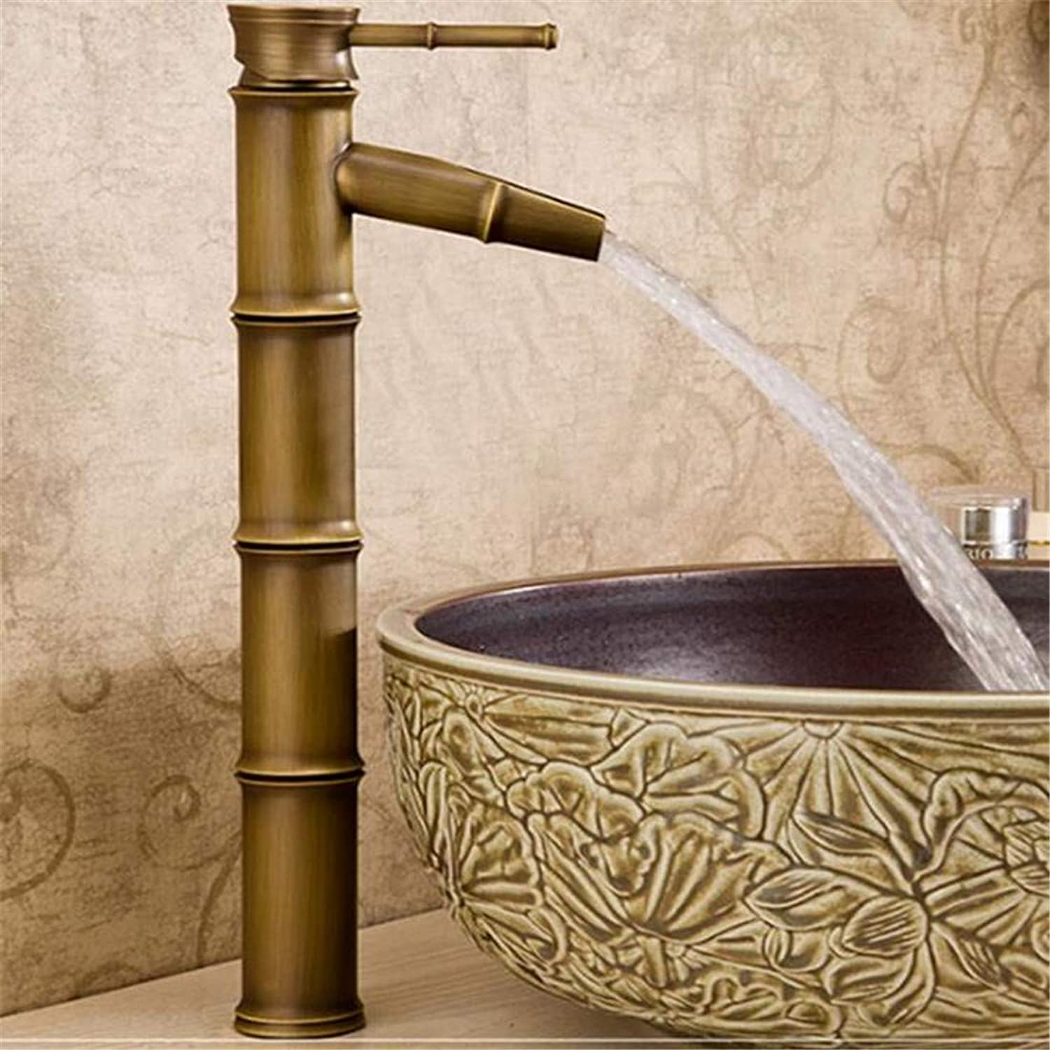 Faucet Luxury Plated Mixer Faucet Taps Faucet Basin Faucet Antique Pure Copper Basin Faucet Classical Art Hot and Cold Water Faucet