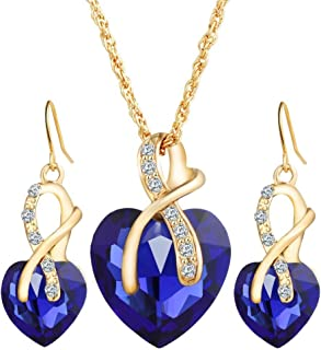 MIXIA Romantic Blue Sapphire Heart of The Ocean Jewelry for Women CZ Crystal Necklace Earrings Set Bridal Wedding Accessories
