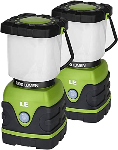 LE LED Camping Lantern, Battery Powered LED with 1000LM, 4 Light Modes, Waterproof Tent Light, Perfect Lantern Flashl...