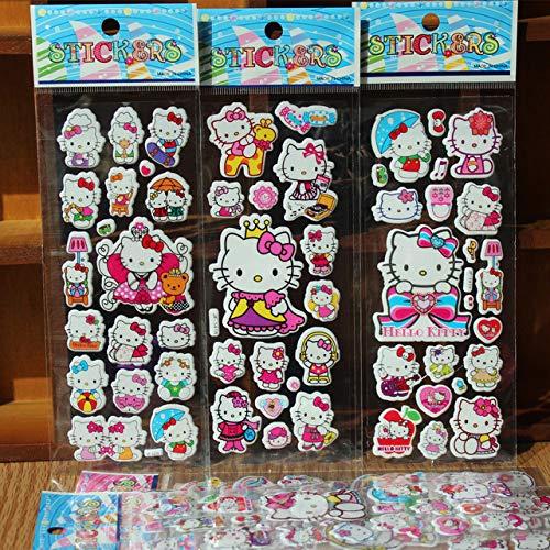 CVG 5pcs/Lot Cartoon Hello Kitty Naughty Bubble Sticker School Rewards 3D Puffy Foam Stickers Kids Gift Toys Christmas Scrapbook