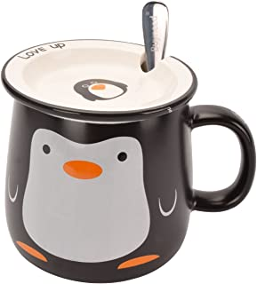 Funny Cute Animal Penguin Office Porcelain Tea Coffee Milk Ceramic Mug Cup with Lid and Spoon - 11 oz Best Gift
