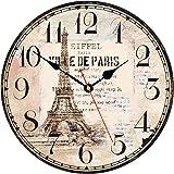 Toudorp Reloj de Pared de 14 Pulgadas Reloj de Pared de la Torre Eiffel Vintage con Pilas Reloj de Pared de Madera silencioso fácil de Leer para decoración de Dormitorio, Sala de Estar y Comedor