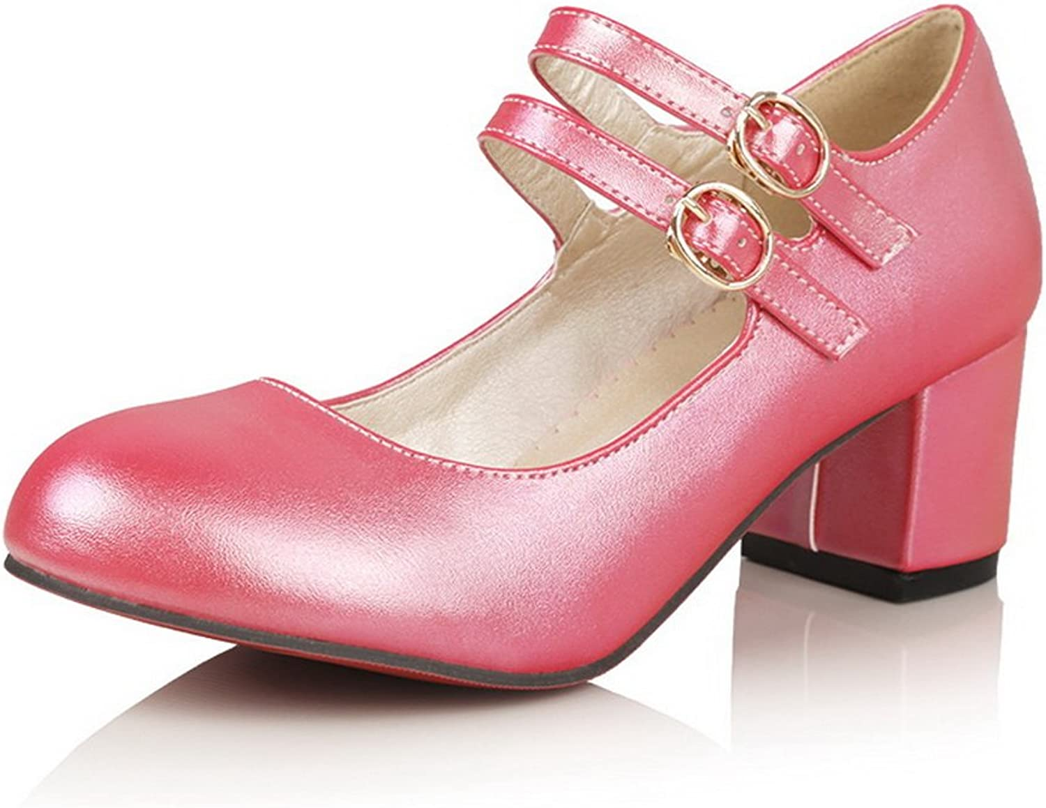 BalaMasa Womens Buckle Chunky Heels Low-Cut Uppers Urethane Pumps shoes
