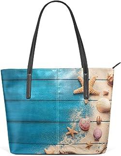 My Daily Damen Handtasche Muscheln Seestern Blau PU-Leder Top-Griff Schultertasche