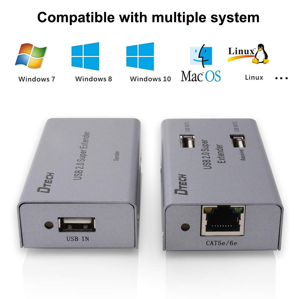 DTECH 50m Multiport USB Extender Over Ethernet Cat5 Cat6 Cable up to 164 ft Extension with 4 USB Expansion Port Data Hub Power Adapter for Camera Webcam Computer External Hard Drive Keyboard Mouse