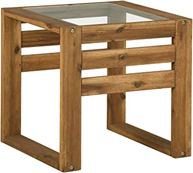Walker Edison Furniture Company AZWOSSTBR Modern Outdoor Patio Wood and Glass Side Rectangle End Table All Weather Backyard Conversation Garden Poolside Balcony, 20 Inch, Brown