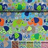MAGAM-Stoffe Bunte Elefanten Kinder Jersey Stoff Oeko-Tex