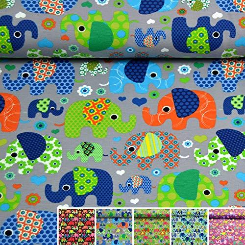 MAGAM-Stoffe Julia Bunte Elefanten Kinder Jersey Stoff Oeko-Tex Meterware 50cm (Grau)