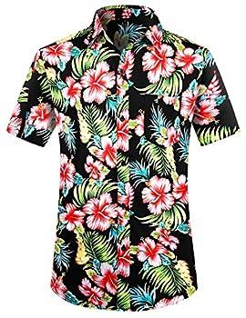 PEGENO Men s Flower Casual Button Down Short Sleeve Hawaiian Shirt Red Hibiscus-M