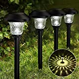 Balhvit Glass Solar Lights Outdoor, 4 Pack Super Bright Solar Pathway Lights, Up to 12 Hrs Long Last Auto On/Off Garden Lights Solar Powered Waterproof, Stainless Steel LED Landscape Lighting for Yard