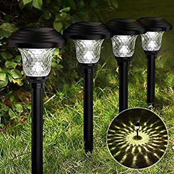 Balhvit Glass Solar Lights Outdoor 8 Pack Super Bright Solar Pathway Lights Up to 12 Hrs Long Last Auto On/Off Garden Lights Solar Powered Waterproof Stainless Steel LED Landscape Lighting for Yard