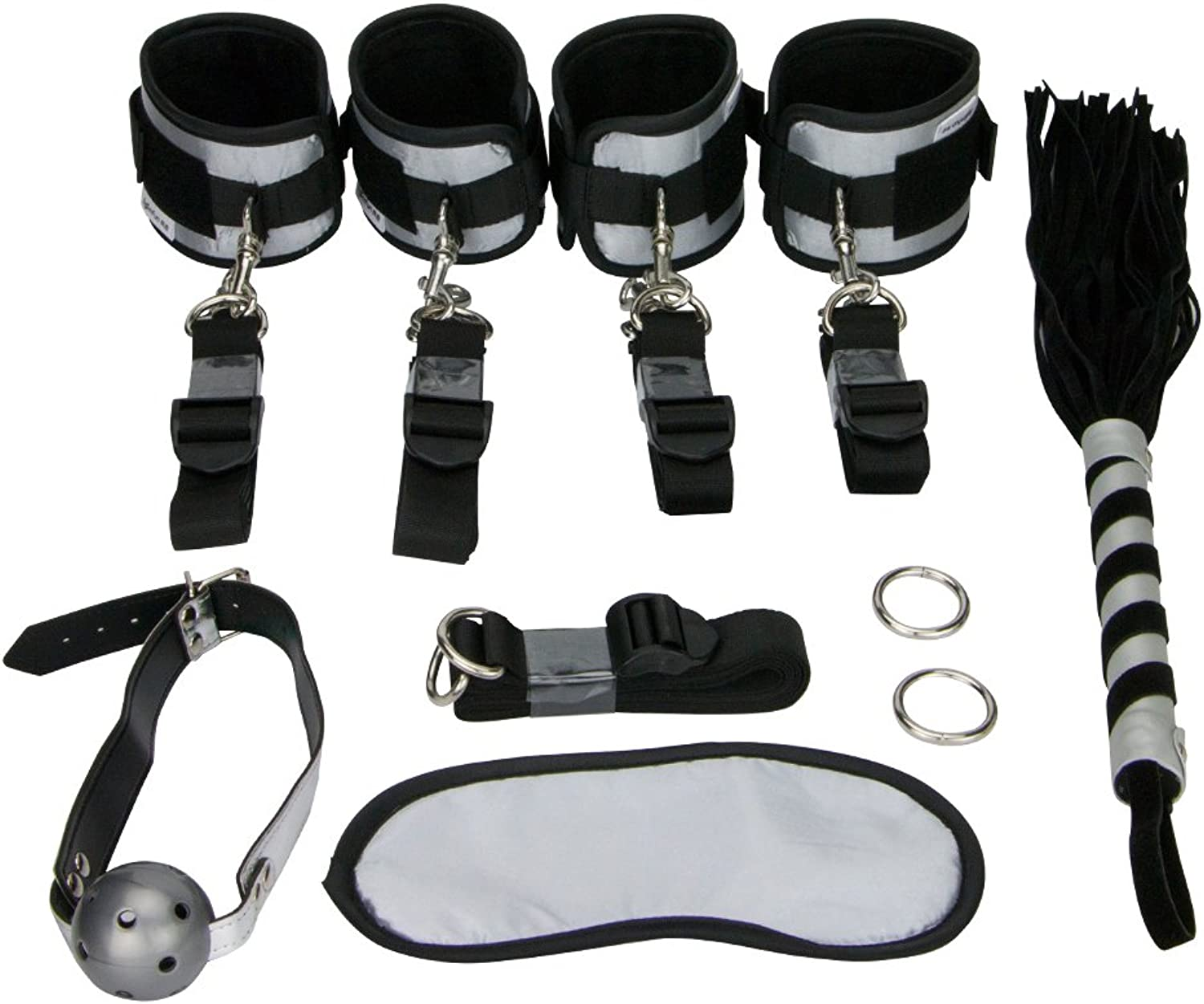 Roomfun Brand Sex Bed Bondage Restraints Set Kit Ball Gag Sex Whip Sex Mask Sex Tool With Sex Cuffs For Ankles and Wrists