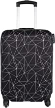 Explore Land Travel Luggage Cover Suitcase Protector Fits 18-32 Inch Luggage (Black Polygonal, S(18-22 inch luggage))