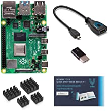 Raspberry Pi 4 with USB-C & Micro HDMI Adapters and Vilros Quickstart Guide E-Book (4GB)